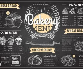 Bakery menu template with blackboard vectors 05