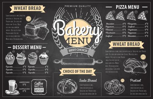 Bakery menu template with blackboard vectors 05