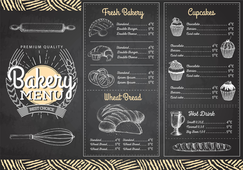 Bakery menu template with blackboard vectors 06