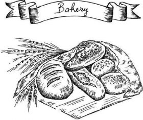 Bakey banner with bread hand drawn vector 02