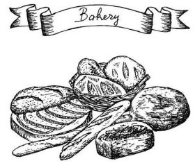 Bakey banner with bread hand drawn vector 04