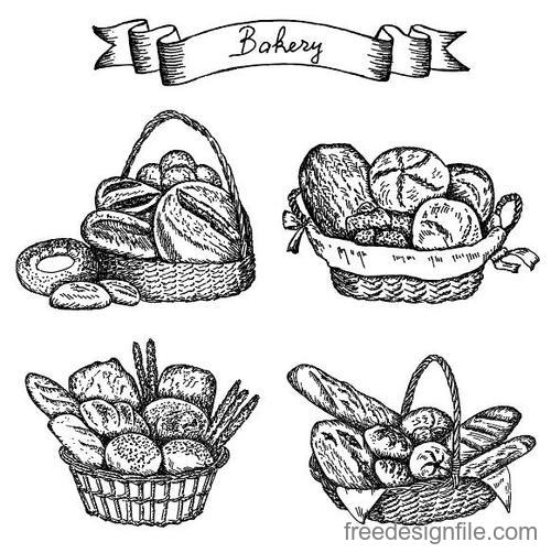 Bakey banner with bread hand drawn vector 05