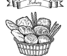 Bakey banner with bread hand drawn vector 06