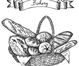 Bakey banner with bread hand drawn vector 07
