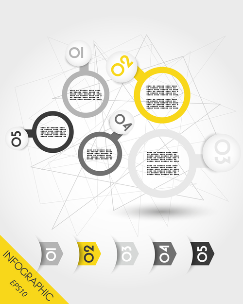 Balls with rings and arrows infographic vector