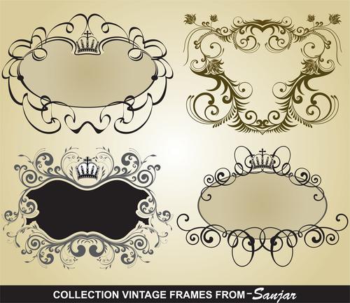 Bank vintage frame vectors