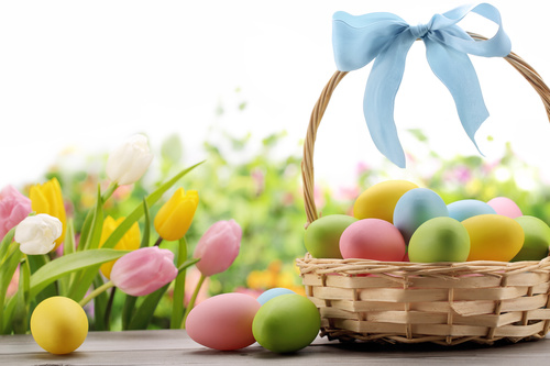 Basket of easter eggs on meadow Stock Photo 03