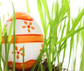Basket of easter eggs on meadow Stock Photo 07