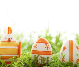 Basket of easter eggs on meadow Stock Photo 08