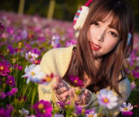 Beautiful asian girl and flower Stock Photo