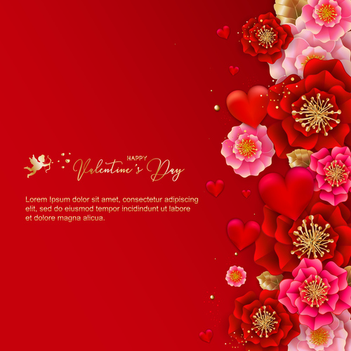 Beautiful flower with valentines day card vectors 01