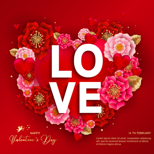 Beautiful flower with valentines day card vectors 02