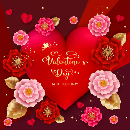 Beautiful flower with valentines day card vectors 03