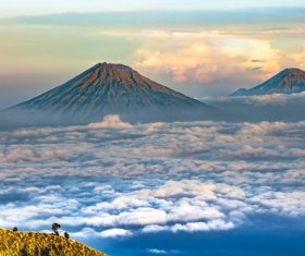 Beautiful landscape of volcano and sea of clouds Stock Photo
