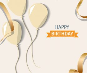 Beige birthday happy holiday card vector 01