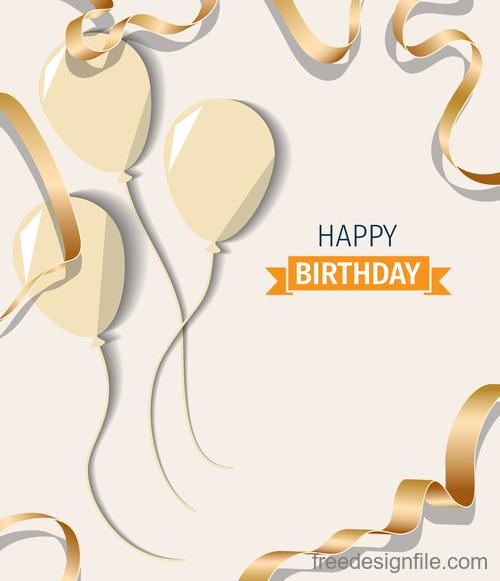 Beige birthday happy holiday card vector 01