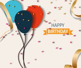 Beige birthday happy holiday card vector 02