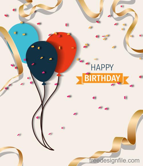 Beige birthday happy holiday card vector 02
