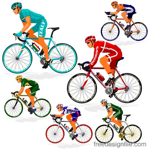 Bicycle racing illustration vectors 01