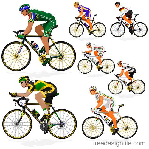 Bicycle racing illustration vectors 03