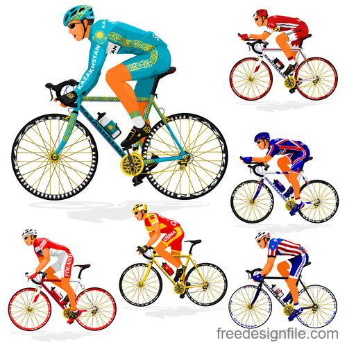 Bicycle racing illustration vectors 05