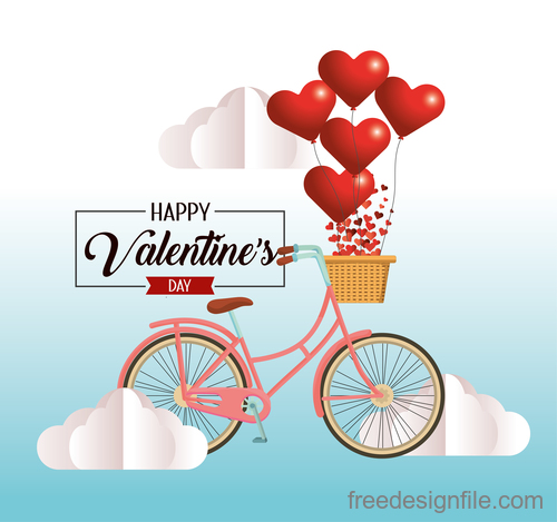 Bicycle with Valentines day heart shape balloons vector