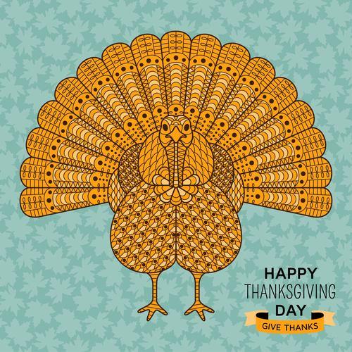 Bird golden with Thanksgiving Day design vector