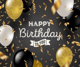Birthday card with golden ribbon and balloons vector