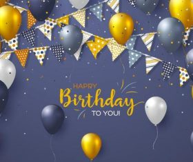 Birthday card with gray background vectors