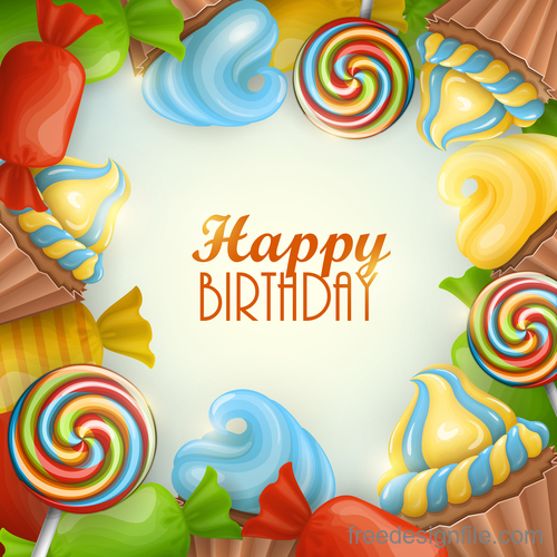 Birthday gifts and sweets vector material 01