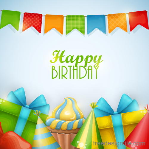 Birthday gifts and sweets vector material 02