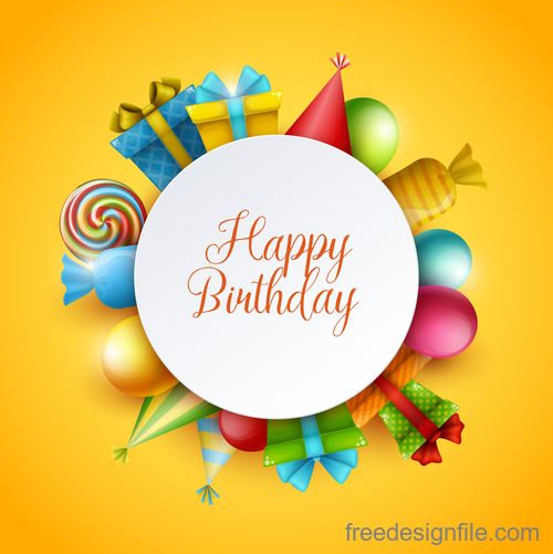 Birthday happy holiday card yellow vector 01