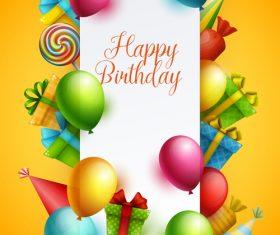 Birthday happy holiday card yellow vector 02