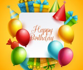 Birthday happy holiday card yellow vector 03