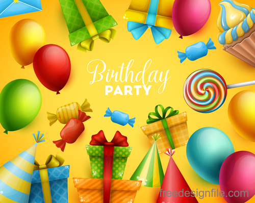 Birthday holiday party background vector 03