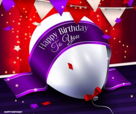 Birthday ribbon banner with white balloon vector 01