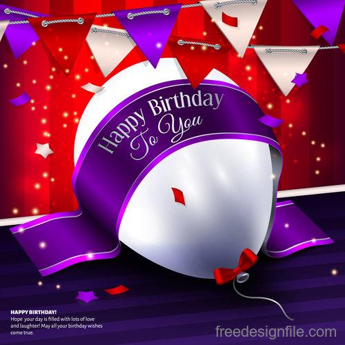 Birthday ribbon banner with white balloon vector 01