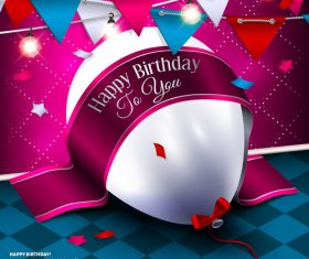 Birthday ribbon banner with white balloon vector 02