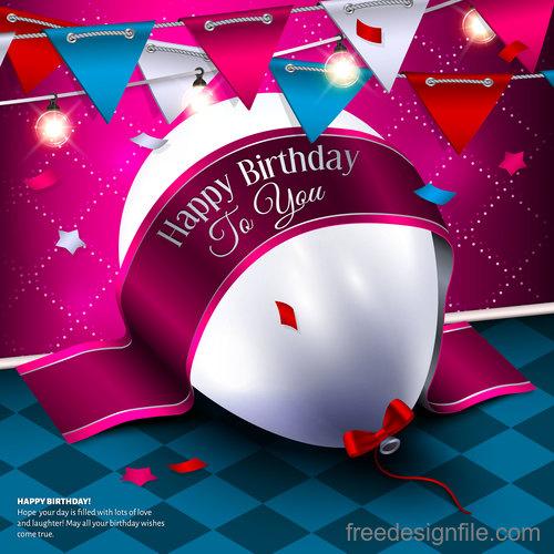 Birthday ribbon banner with white balloon vector 02