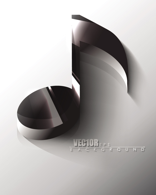 Black 3D musical note music background vector