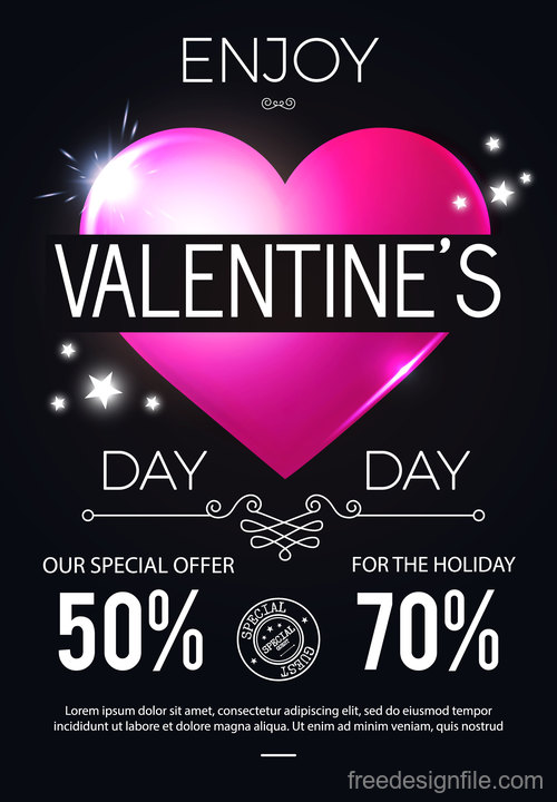 Black Valentines day sale poster vector template