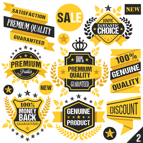 Black and Yellow Badges Labels and Ribbons vector