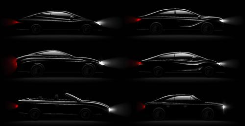 Black car illustration vectors set 01
