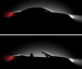 Black car illustration vectors set 04