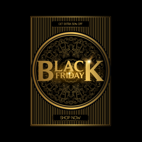 Black friday shop now golden background vector 01