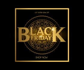 Black friday shop now golden background vector 02