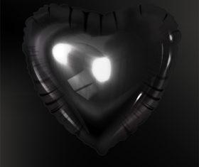 Black heart shaped air balloon vector illustration