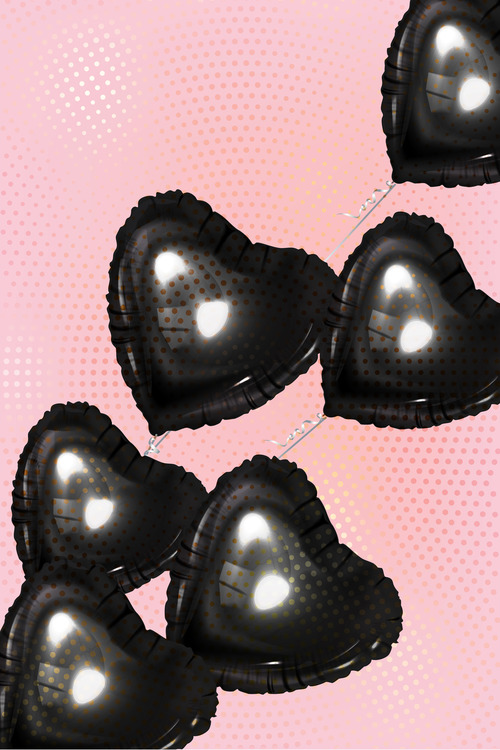 Black heart shaped air balloons with half tone effect vector