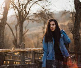 Black long hair beautiful girl on the farm Stock Photo