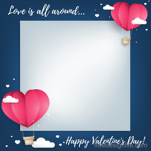 Blank paper with valentines card template vector